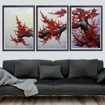 Cherry blossom wall art, Japan cherry blossom art, red cherry blossom painting