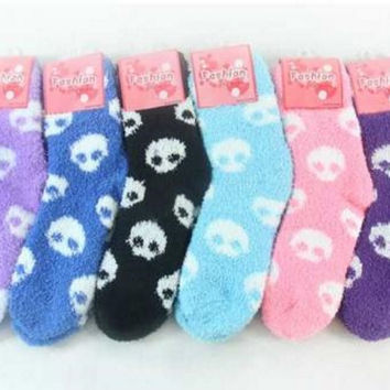Thermal Towel Skull Socks 5 Pairs For Autumn and Winter