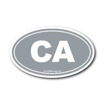 California CA Euro Oval Sticker GREY