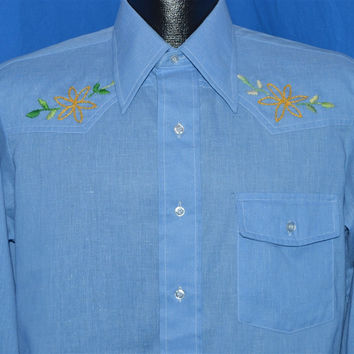 70s Arrow Sanforized Blue Embroidered Western Shirt Medium