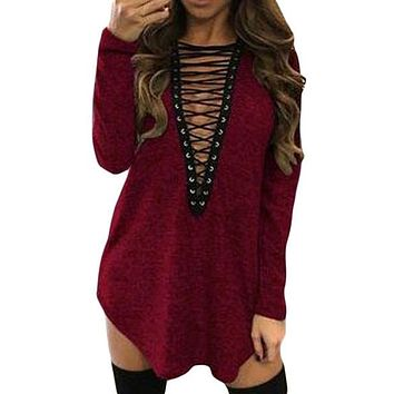 Heather Red Deep V Neck Grommet Lace Up Mini Dress