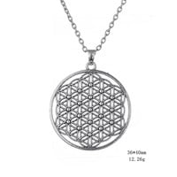 Silver Tone Flower of Life Pendant Necklace Mandala Sacred Geometry Jewelry Fleur De Vie Fashion Women Accessories