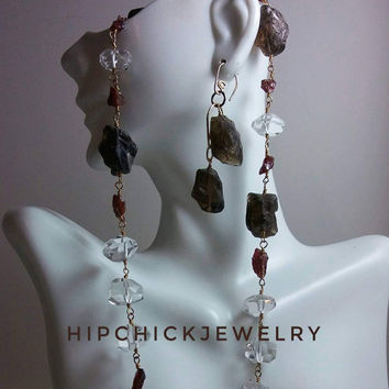 Gemstone Beaded Necklace in Gold with Herkimer Diamonds, Rough Cut Garnet & Smokey Quartz, Raw Birthstone Necklace, Unique Gifts for Her