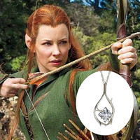 The Hobbit Lord of the Rings Cubic Zirconia Pendant necklace with silver plated matching chain