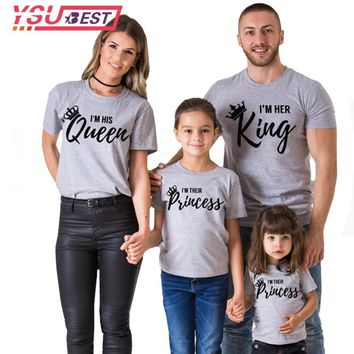 2018 Summer Style Women T-shirt Queen King Letter Printed Casual Female Family Couple Lover Tee O-Neck Gray Black Tops Shirts