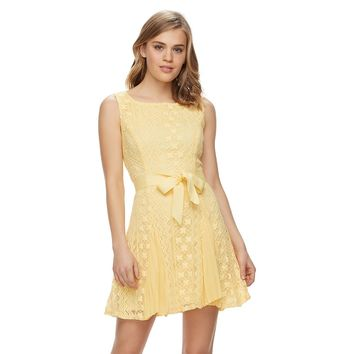 Disney's Beauty and the Beast Juniors' Pleated Crochet Dress