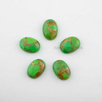 Green Copper Turquoise Loose Gemstone, Smooth Calibrated Cabochons, Wholesale Gemstone, Turquoise Oval 13x18mm - 5Pcs
