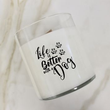 Life Is Better With A Dog Paw Design Candle
