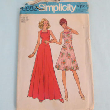 Vintage Simplicity size 16 sewing pattern 6882 misses dress in two lengths short and long made 1975