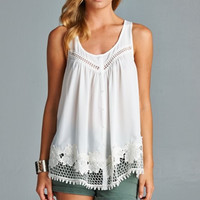 Floral Edged Lace Top - Off White