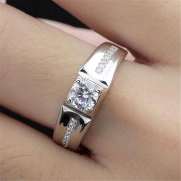 fashion mens boys unique silver adjustment ring with diamond casual jewelry best gift rings 72 2