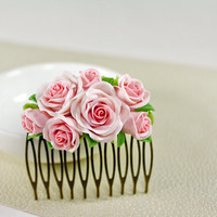 light pink rose Hair Comb, bridal, hair clip, hair accessories , polymer clay flower, wedding