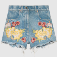 GUCCI spring/summer women's wear new G family and xu lu embroidery flowers design with high-waisted denim shorts