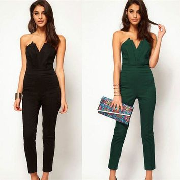 LMFCI7 2017 Casual Women One Piece V-neck Jumpsuits Sleeveless Backless Bodycon Off the Shoulder Long Pant Sexy Rompers Female Playsuit