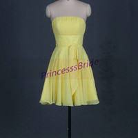 2014 short yellow chiffon bridesmaid dresses,chic cute gowns for wedding party,cheap strapless maid of hoor dress hot.