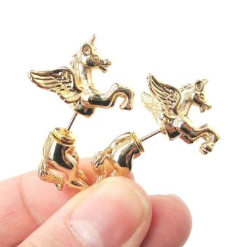 Fake Gauge Earrings: Mythical Unicorn Animal Front and Back Stud Earrings in Shiny Gold