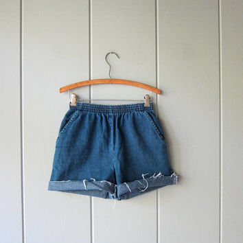 Dark Blue Jean Shorts 80s Elastic Waist Denim Shorts Cotton Shorts Chic Brand MOM Shorts with Pockets Vintage Beach Shorts Women 6 Small