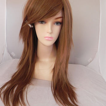 ON SALE // Light Golden Brown / Long Straight Layered Wig