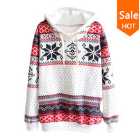 2016 New Fashion Women Pullover Snowflake Print Long Sleeve Knitted Sweater Female Christmas Sweater Casual Pullover