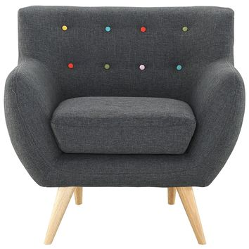 Remark Upholstered Fabric Armchair Gray EEI-1631-GRY