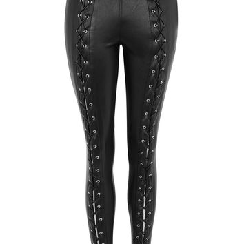 Faux Leather Lace Up Skinny Trouser