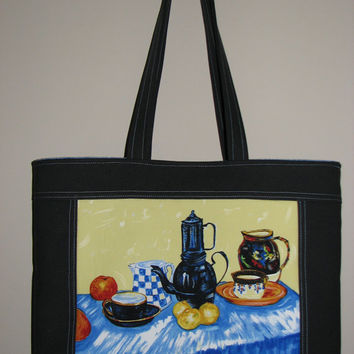 Quilted Tote Bag , Cotton Canvas Purse , Vincent Van Gogh Blue Enamel Coffeepot Earthenware and Fruit