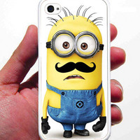 Despicable Me Minion Mustache iPhone Case - Rubber Silicone iPhone 4 Case or Plastic iPhone 5 Case - Free Screen Protector Included