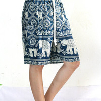 short  elephant Pants shorts women high waist pants elephant design/jumpsuit uk/Yoga pants/boho clothing/Harem pants/boho pants