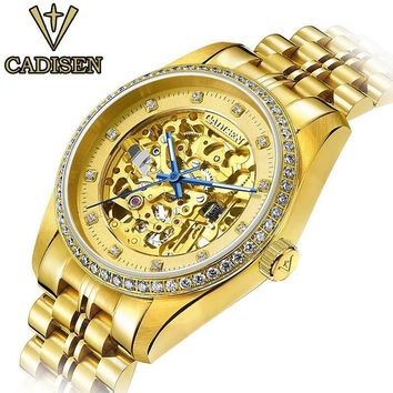 original cadisen men mechanical watches men luxury brand watch full steel waterproof business automatic wristwatches
