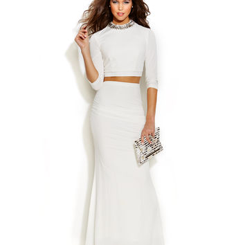 City Studios Juniors' Two-Piece Open-Back Gown