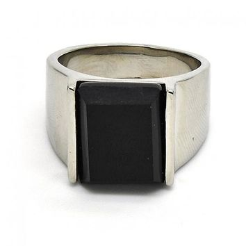Stainless Steel Mens Ring, with Opal, Steel Tone