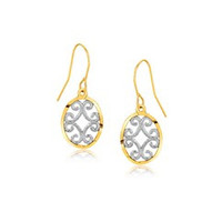 Fancy Drop Earrings in 10K Two-Tone Gold