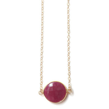 Ruby Pendant Gold Filled Necklace