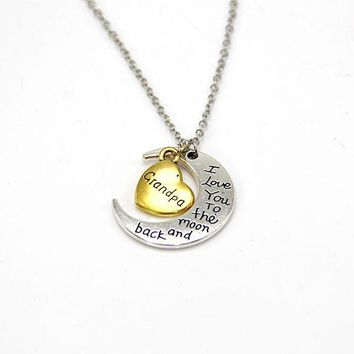 hand stamped i love you to the moon and back charm necklace silver gold grandpa gift box  number 1