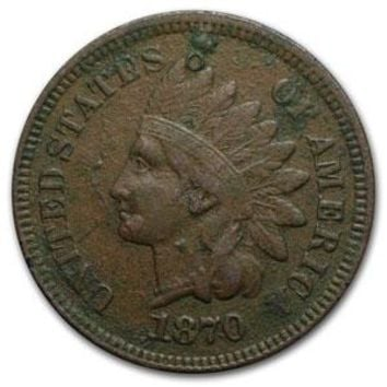 1870 Indian Head Cent VF Details