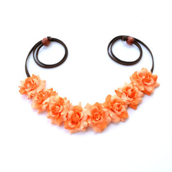 Orange Flower Halo Headpiece Floral Halo Flower Crown Bohemian Headpiece Boho Gypsy Hippie Headband Flower Bright Festival
