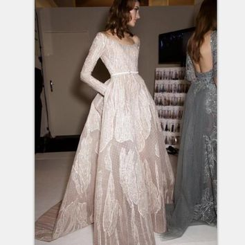 Charming Beaded Lace Long Sleeve Prom Dresses 2017 Applique Tulle Scoop Neckline Custom Made A Line Evening Dress Free Shipping