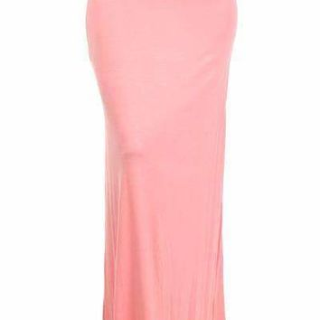 Solid Maxi Skirt - Pink