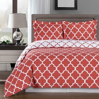 Meridian Coral 100% Combed cotton Duvet Cover Set