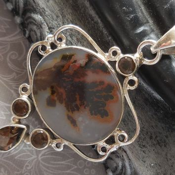 Dendritic Agate & Smoky Topaz .925 Sterling Silver Pendant/Necklace
