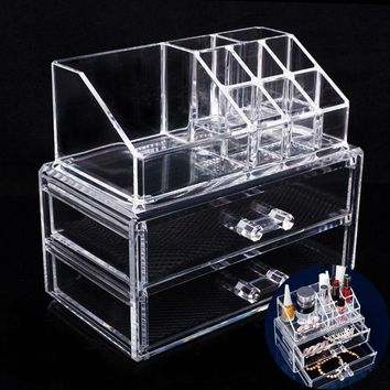 Portable Transparent Makeup Organizer Storage Box Acrylic Makeup Organizer Holder Drawers Box for Makeup Storage