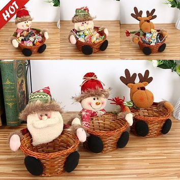Hot Cute Christmas Candy Bottle Jar Storage Case Gift Box Santa Jars Container Tableware Ornament Snowman Party Home Decor