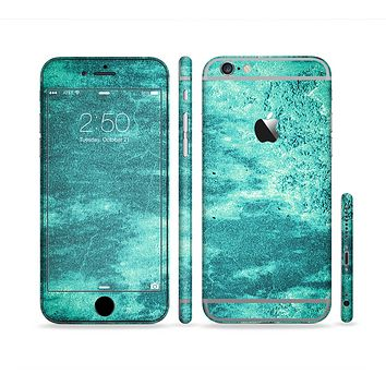 The Grungy Teal Chipped Concrete Sectioned Skin Series for the Apple iPhone 6s Plus