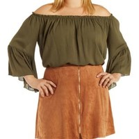 Plus Size Olive Off-the-Shoulder Boho Top by Charlotte Russe
