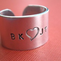 Personalized Handstamped Ring 1/2 inch Aluminum by TesoroJewelry