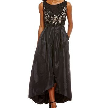Sangria Lace Bodice High Low Gown | Dillards