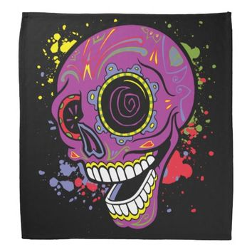 Purple Tattoo Sugar Skull With Paint Biker Dew Rag Bandana