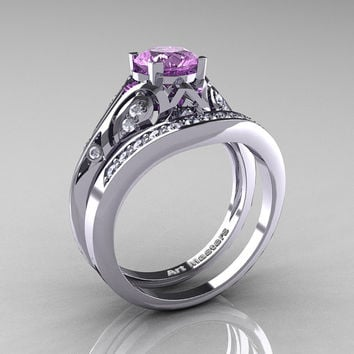 Classic Armenian 14K White Gold 1.0 Ct Lilac Amethyst Diamond Engagement Ring Wedding Band Set R477S-14KWGDLAM