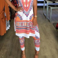 Print Long T-shirt with Skinny Pants Two Pieces Set