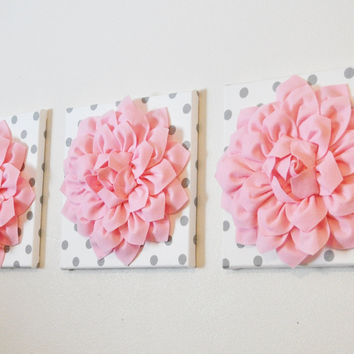 Three Light Pink Dahlias on White with Gray Polka Dot Canvases